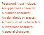 password requirement